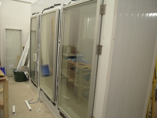 cold room with glass doors fitted